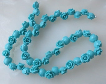 Turquoise Resin Rose Flower Drilled Beads 10mm Half Strand