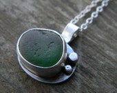 Olive Green Sea Glass Pendant Necklace- English Sea Glass & Sterling Silver