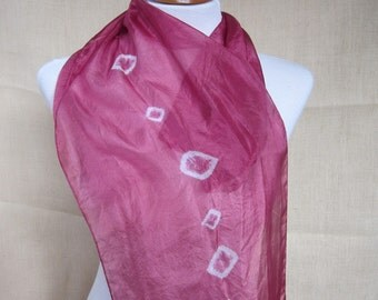 Cherry Red Hand Dyed Kanoko Shibori Silk Scarf