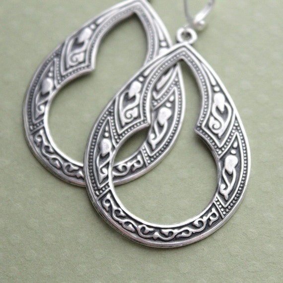 Amina Earrings - Antiqued Silver or Brass