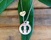 Hand Stamped Sterling Silver Lovebirds Silhouette Wedding Necklace...Engagement Necklace