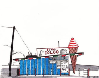Burk's Igloo Hamtramck (Detroit) Giclee Print 8x10