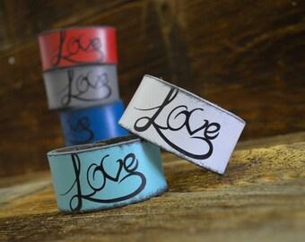 Love Script Leather Wrist Cuff by Foster Weld