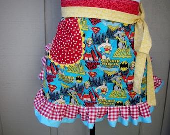 Super Women Aprons - Wonder Woman - Bat Girl - Super Girl Half Apron - Superwomen Hero Apron - Annies Attic Aprons