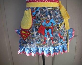 Aprons - Womens Superman  Aprons - Super Heros Apron -- Superman Hero Apron - Annies Attic Aprons