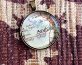 Austin Map Glass Pendant - Map Jewelry - Map of Austin Texas Jewelry - Pendant CHARM ONLY