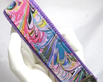 Wristlet Key Fob Lavender Peacock Keychain