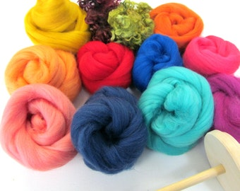 Drop Spindle Kit Learn to Spin your own Yarn Gift Set 200g Wool Top or Batt