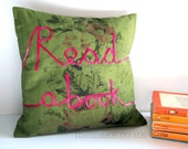 Book lover pillow word cushion read a book vintage fabric pink ribbon lettering embroidery olive green typography memake handmade home decor