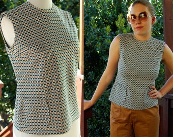 Polka DOTS 1970's 60's Vintage Blue and Grey Geometric Sleeveless Blouse with Tiny Pocket size Small