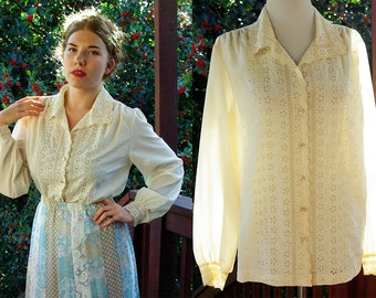 FLOWER Child 1960's 70's Vintage Cream White Blouse  with Eyelets and Embroidery // by LEE MAR // size Large