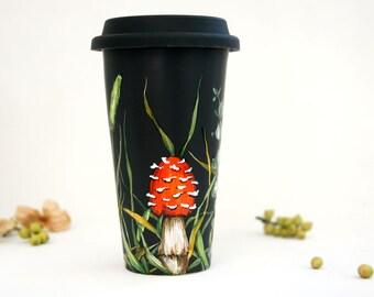 Black Ceramic Travel Mug - Shrooms and Grass Collection