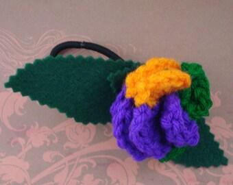 Crocheted Rose Ponytail Holder or Bracelet - Villain (SWG-HP-VIJK02)