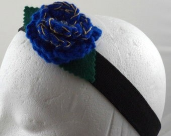 Idris - Crocheted Rose Headband - Blue and Gold Rose on Black Stretchy Headband (SWG-HH-DWID01)