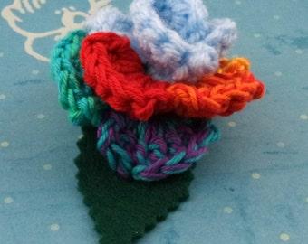 Crocheted Rose Hair Clip - Light Blue and Rainbow (SWG-HC-MPRD02)