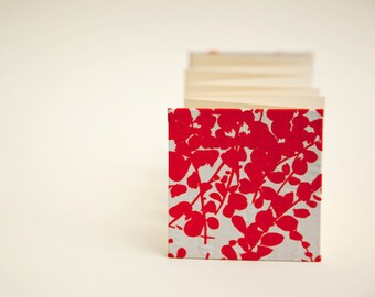 Red Flowers, Small Accordion Book, Handbound Blank Book