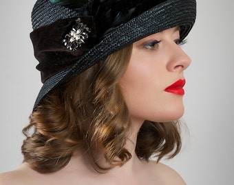Black Straw Cloche Art Deco Hat Downton Abbey