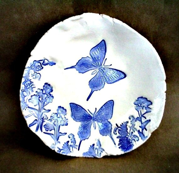 Ceramic  Blue Butterfly Trinket Dish