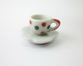 Miniature Ceramic Polka dot Tea Cup