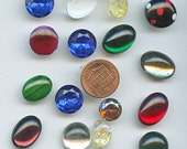 LARGE Flat Back Cabochons Focal Point Rhinestones (16) Vintage Stones Colorful Variety Colors Sizes 9481