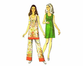 1970s Womens Mini Dress Tunic Border Print Pants Simplicity 8730 Vintage Sewing Pattern Misses Size 10 Bust 32 1/2