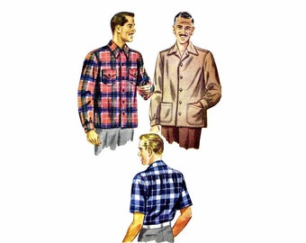 1940s Mens Double Yoke Front Button Shirt Simplicity 4884 Vintage Sewing Pattern Chest 38 - 40