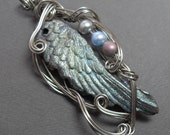 Fae Glamour Angel Wing Necklace Fairy Iridescent and Silver