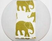 Set of 4 Organic Cotton Elephant Napkins  - Citron