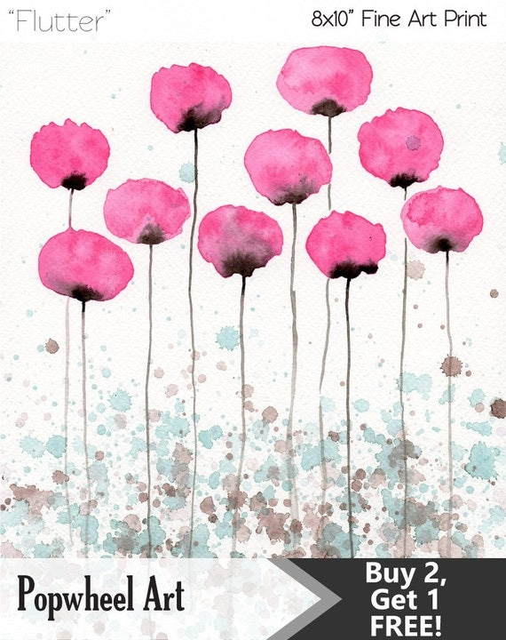 Watercolor Painting: Watercolor Flower Painting -- Art Print --  Flutter -- Pink Flowers -- 8x10