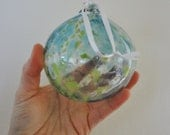 Blue Green and Copper Flecked Hand Blown Glass Globe Christmas Holiday Ornament - Free Shipping