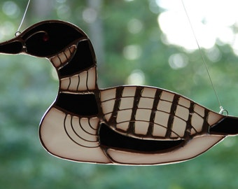 Stained Glass Adirondack Loon Ornament