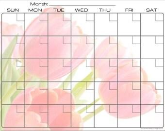 Graceful Pink Tulips Dry Erase Monthly Calendar Fridge Magnet #2877