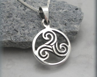 Triskele Necklace Triskilion Necklace Triple Spiral Celtic Knot Irish Jewelry Sterling Silver (SN853)