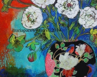 Asian Vase With Flowers- mounted fine art reproduction by Maria Pace-Wynters