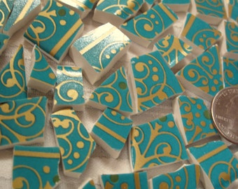 ARTSY AQUA CONTEMPORARY Blue Green China Mosaic Tiles with Metallic Gold Scrolls, Dots, Stripes - Elegant-Classy-Whimsical;Traditional, too