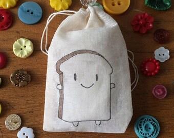 Happy Bread Slice - kawaii mini drawstring bag