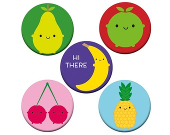 5 A Day Badge Set - set of 5 kawaii fruit badges
