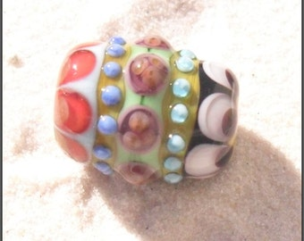 Lampwork Focal Bead, Multicolored, Artisan Handmade SRA LETEAM Glassymom