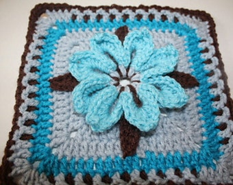 PDF Instant Download Crochet Pattern Floral Trellis Granny Square