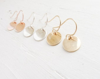 Delicate Dots Flat Circle Earrings Tiny Circle Earring Silver Gold Rose Gold Filled Earings Silver Dot Earring