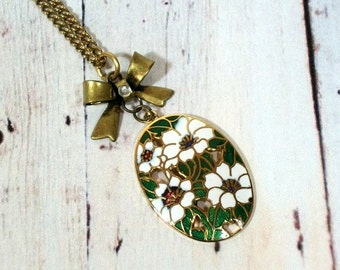 Cloisonne Flower and Bow Necklace