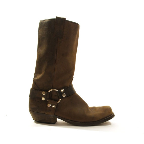 brown leather motorcycle boots with ankle harness s