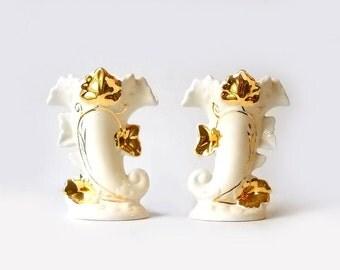 2 Vintage Cornucopia Vases, 22 Kt Gold, F & M Artware, Autumn Decor