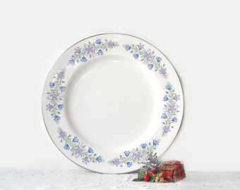 Vintage Spode Maytime Dinner Plate, Lavender, Blue Flowers, English Bone China
