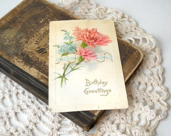 Antique Birthday Postcard, 1916 Pink and Blue Flowers, Vintage Greeting Card, Paper Ephemera