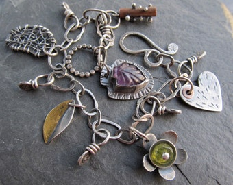 Silver Charm BRACELET Wire Wrapped Gemstone Green Purple Funky Artsy 23K Gold Leaf Keum Boo