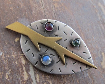 Sterling silver LEAF BROOCH  Labradorite Funky Stamped Pin Mixed Metals