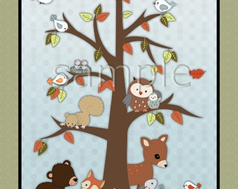 Friends of the Forest nursery art print.  Matches crib bedding. Tree, Autumn leaves and lots of cute animals!