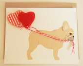 Nuri the French Bulldog Birthday Balloon with Red Hearts Felt Applique Note Card with Envelope