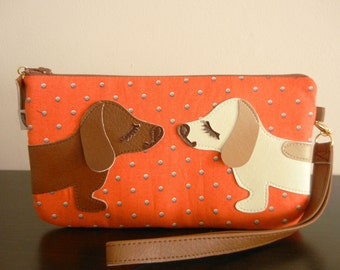BBQ and Yang the Dachshunds Doxies Japanese Orange Blue Polka Dot Wristlet Carry-all Zipper Case with Vinyl Applique